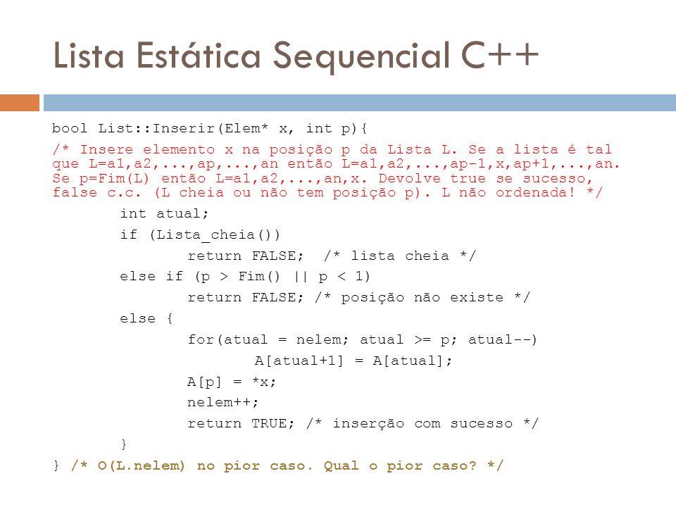 Lista Estática Sequencial C++