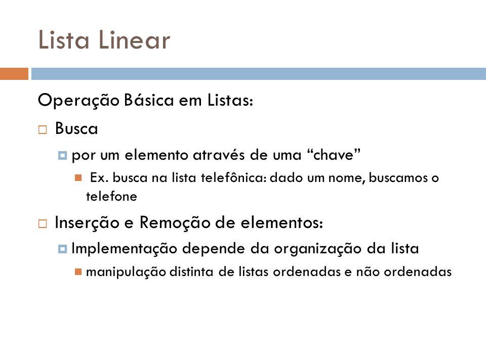Lista Linear Operação Básica em Listas: Busca