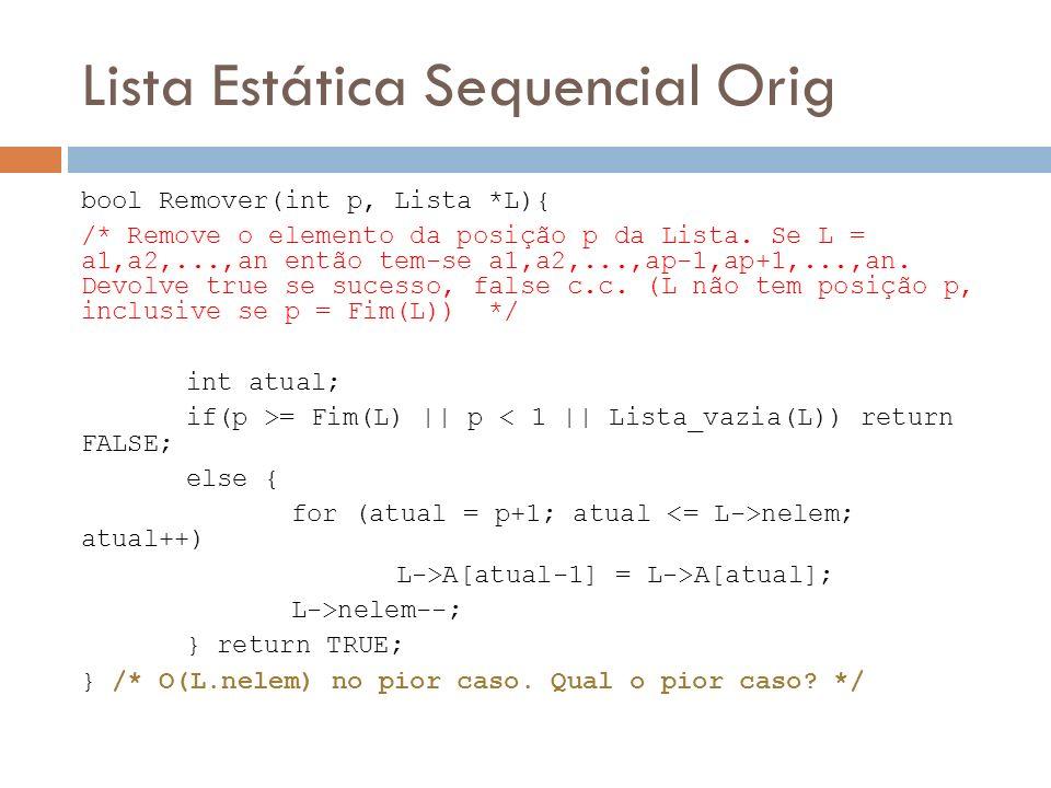 Lista Estática Sequencial Orig