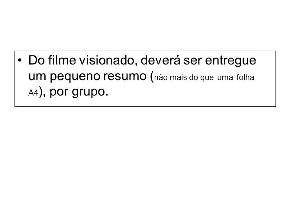 Do filme visionado, deverá ser entregue um pequeno resumo (não mais do que uma folha A4), por grupo.
