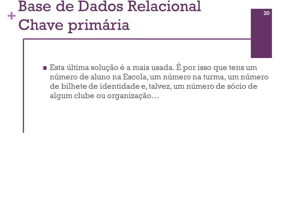 Base de Dados Relacional Chave primária