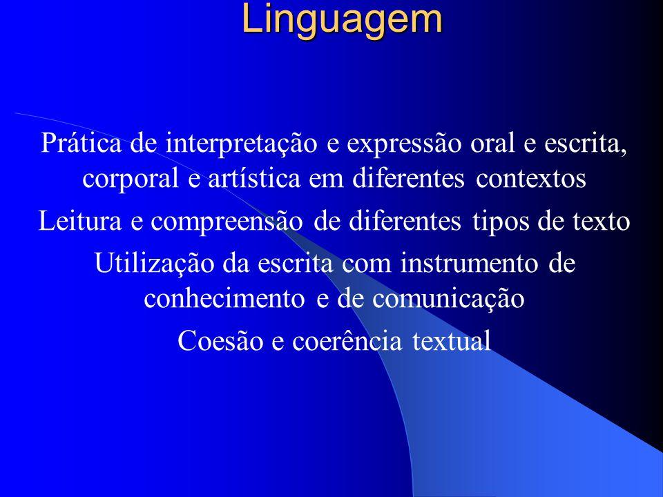 Linguagem Prática de interpretação e expressão oral e escrita, corporal e artística em diferentes contextos.