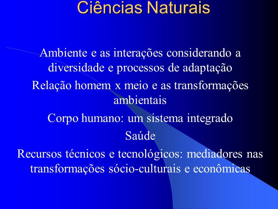 Ciências Naturais Ambiente e as interações considerando a diversidade e processos de adaptação. Relação homem x meio e as transformações ambientais.