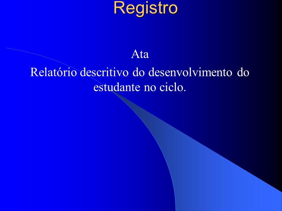 Ata Relatório descritivo do desenvolvimento do estudante no ciclo.