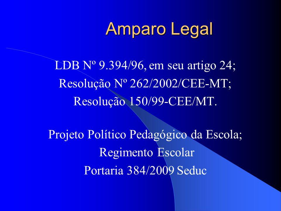 Amparo Legal LDB Nº 9.394/96, em seu artigo 24;