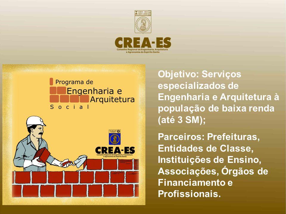 Objetivo: Serviços especializados de Engenharia e Arquitetura à população de baixa renda (até 3 SM);