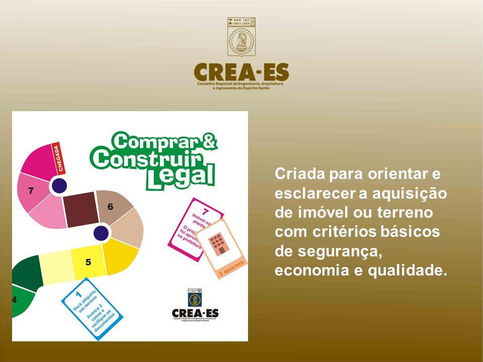 Criada para orientar e esclarecer a aquisição de imóvel ou terreno com critérios básicos de segurança, economia e qualidade.