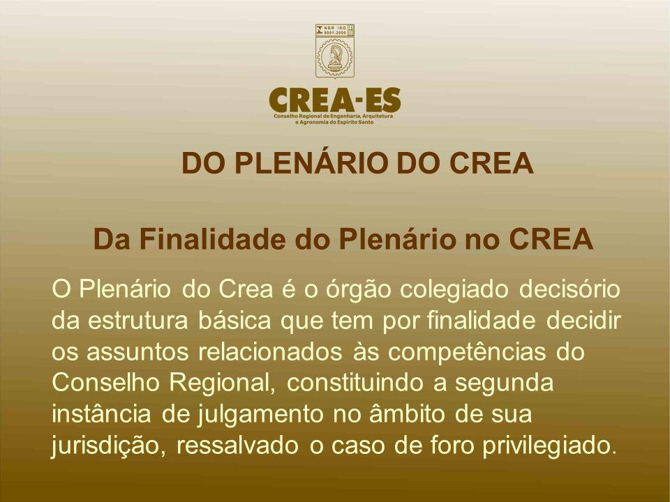 Da Finalidade do Plenário no CREA