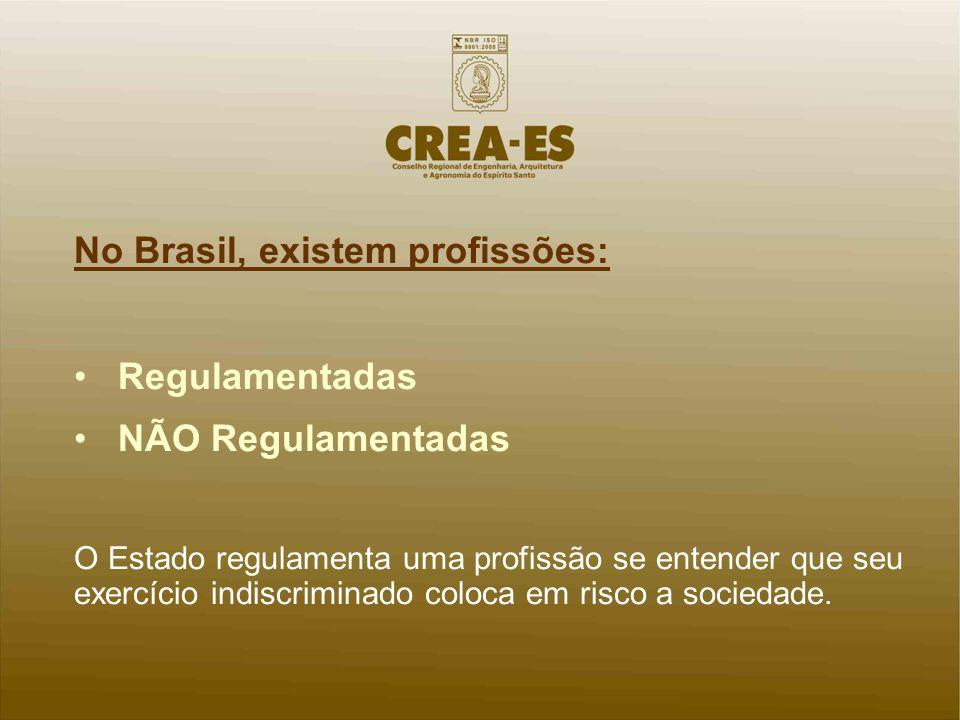 No Brasil, existem profissões: Regulamentadas NÃO Regulamentadas