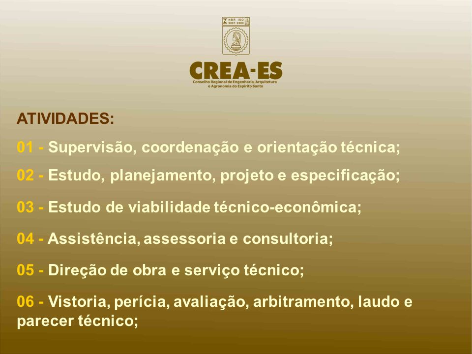 ATIVIDADES: 01 - Supervisão, coordenação e orientação técnica; 02 - Estudo, planejamento, projeto e especificação;