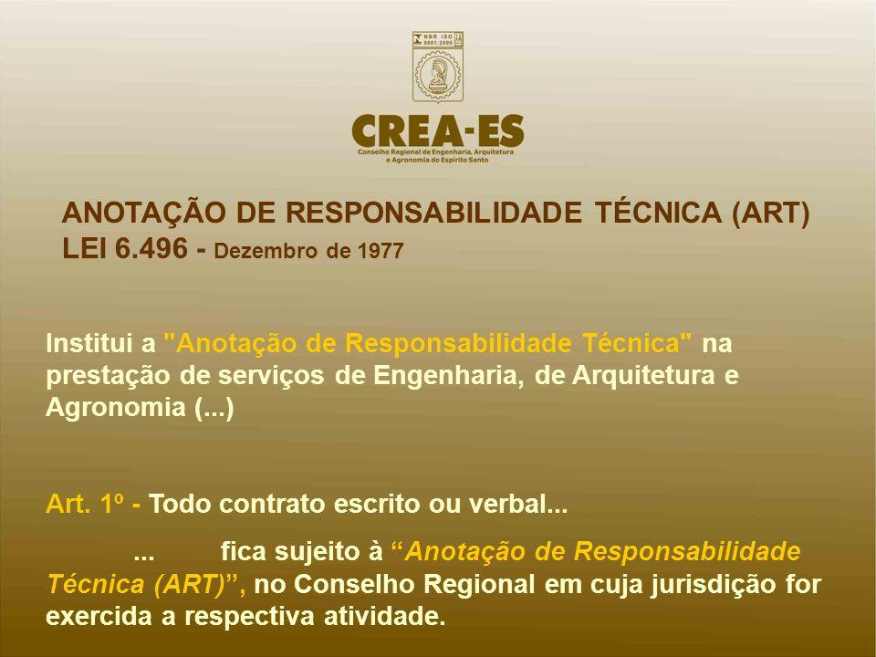 ANOTAÇÃO DE RESPONSABILIDADE TÉCNICA (ART) LEI 6