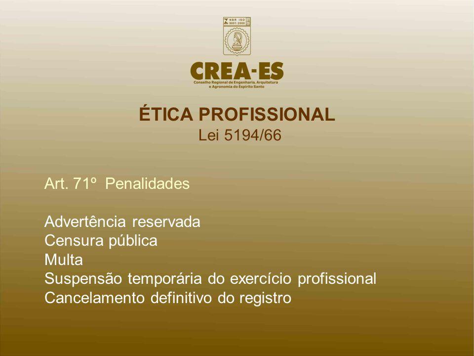 ÉTICA PROFISSIONAL Lei 5194/66 Art. 71º Penalidades
