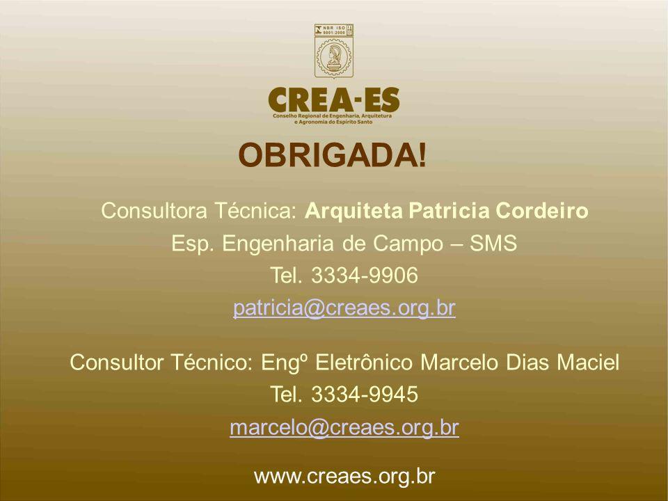 OBRIGADA! Consultora Técnica: Arquiteta Patricia Cordeiro