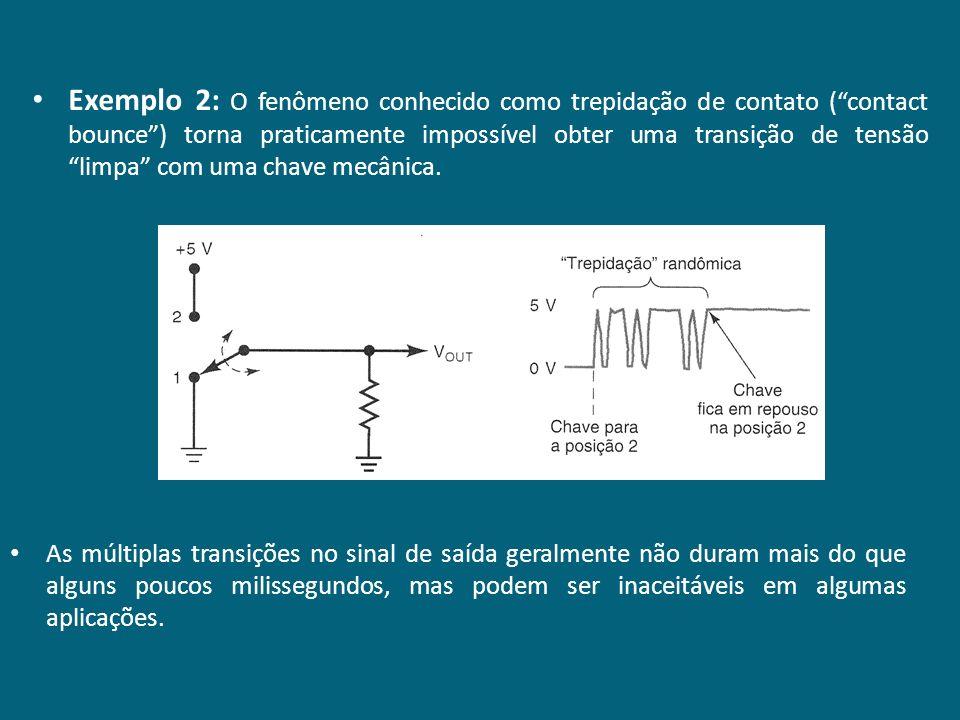 Exemplo 2: O fenômeno conhecido como trepidação de contato ( contact bounce ) torna praticamente impossível obter uma transição de tensão limpa com uma chave mecânica.