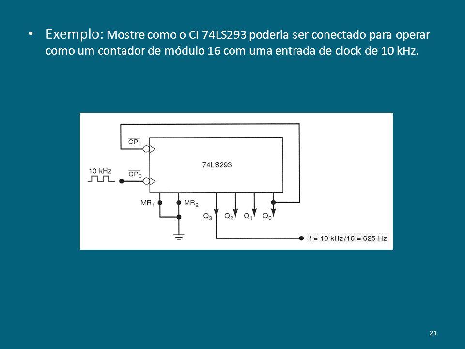 Exemplo: Mostre como o CI 74LS293 poderia ser conectado para operar como um contador de módulo 16 com uma entrada de clock de 10 kHz.