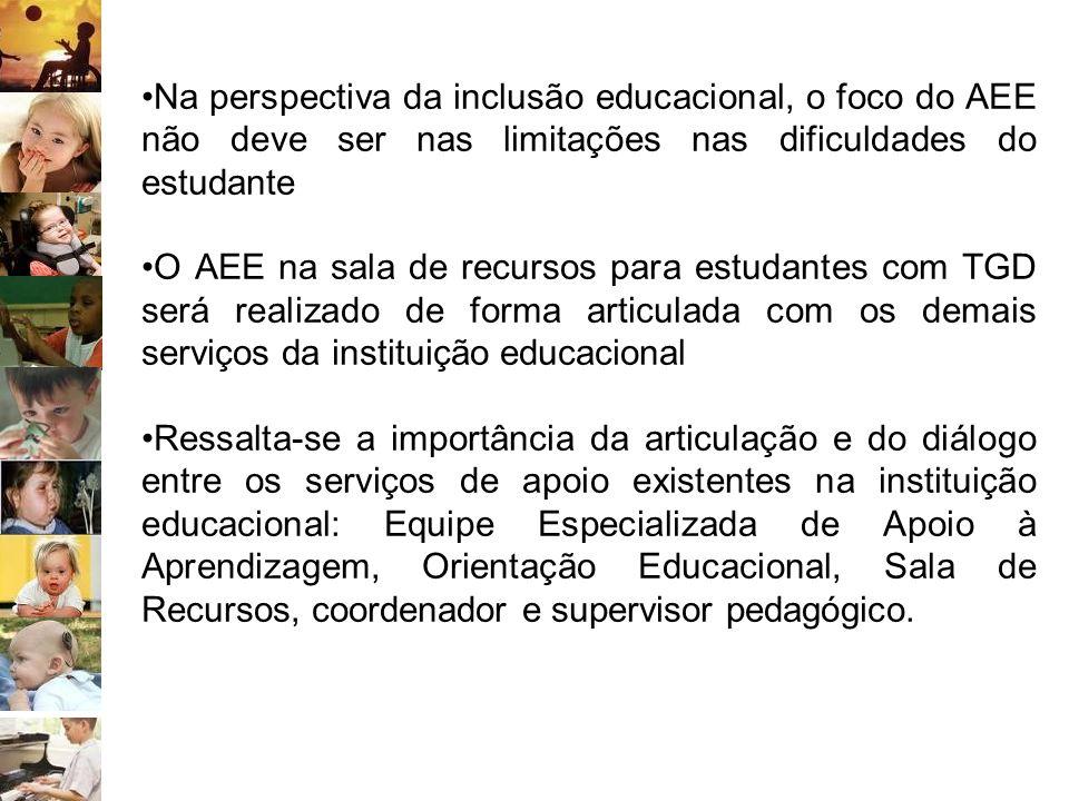 Na perspectiva da inclusão educacional, o foco do AEE não deve ser nas limitações nas dificuldades do estudante