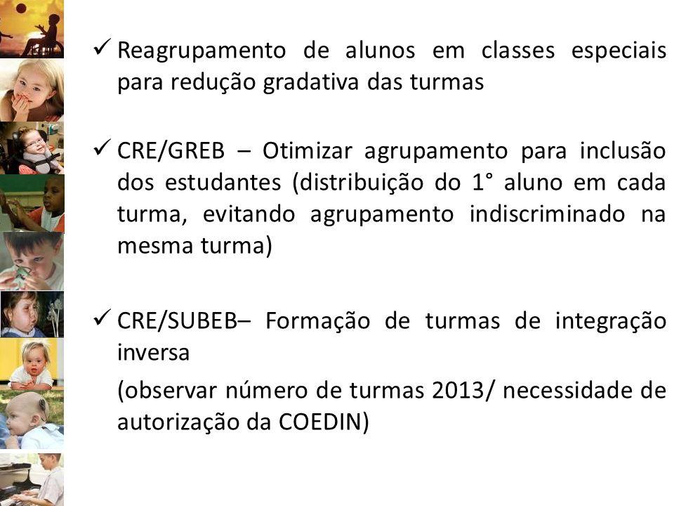 Reagrupamento de alunos em classes especiais para redução gradativa das turmas