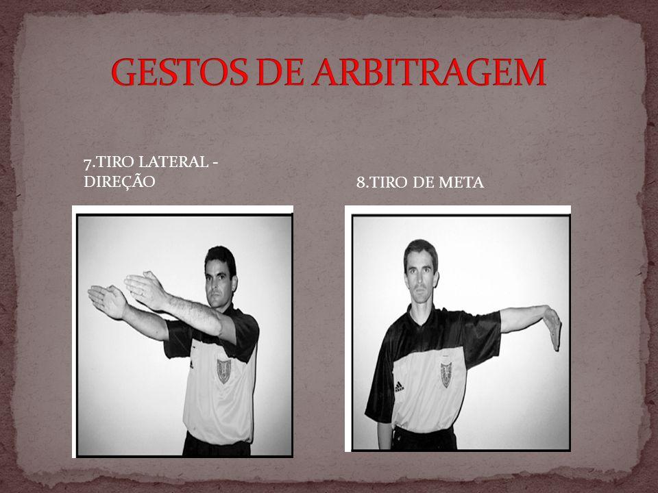 GESTOS DE ARBITRAGEM 7.TIRO LATERAL -DIREÇÃO 8.TIRO DE META