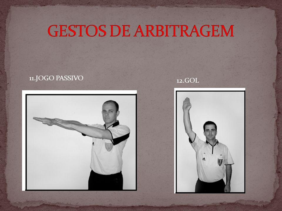 GESTOS DE ARBITRAGEM 11.JOGO PASSIVO 12.GOL