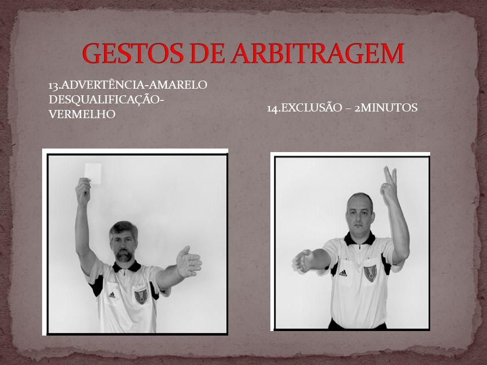 GESTOS DE ARBITRAGEM 13.ADVERTÊNCIA-AMARELO DESQUALIFICAÇÃO-VERMELHO