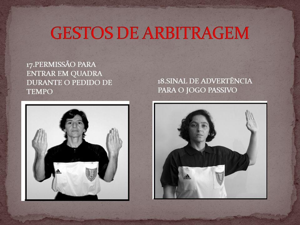 GESTOS DE ARBITRAGEM 17.PERMISSÃO PARA ENTRAR EM QUADRA DURANTE O PEDIDO DE TEMPO.