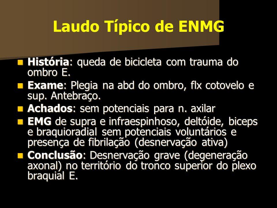 Laudo Típico de ENMG História: queda de bicicleta com trauma do ombro E. Exame: Plegia na abd do ombro, flx cotovelo e sup. Antebraço.