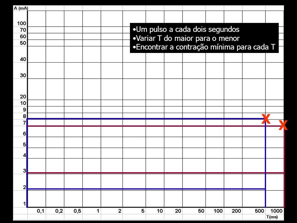 X X Um pulso a cada dois segundos Variar T do maior para o menor