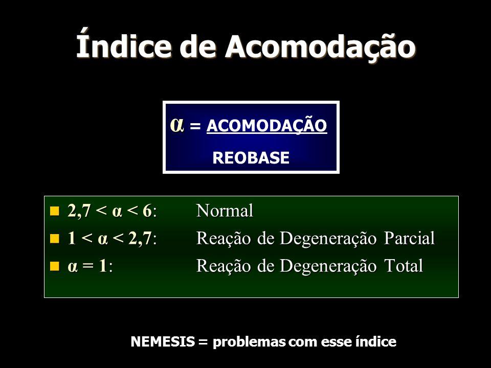 Índice de Acomodação α = ACOMODAÇÃO 2,7 < α < 6: Normal