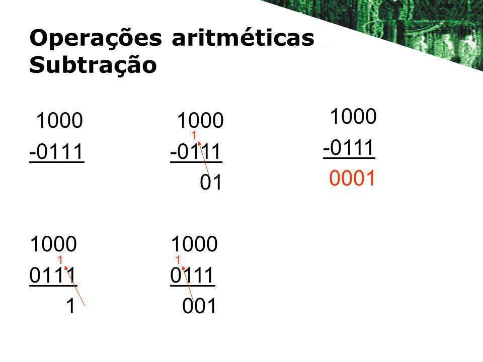Operações aritméticas Subtração