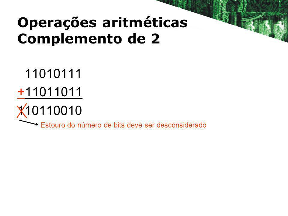 Operações aritméticas Complemento de 2