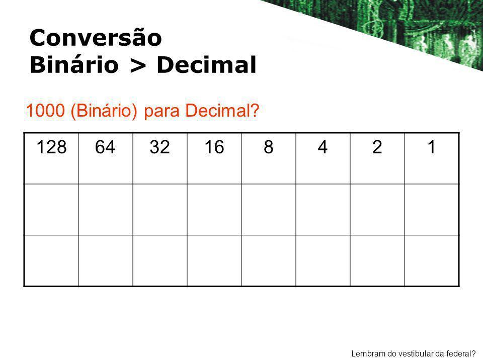 Conversão Binário > Decimal