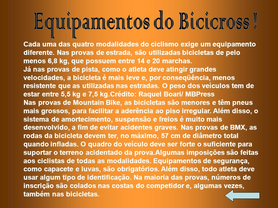 Equipamentos do Bicicross !