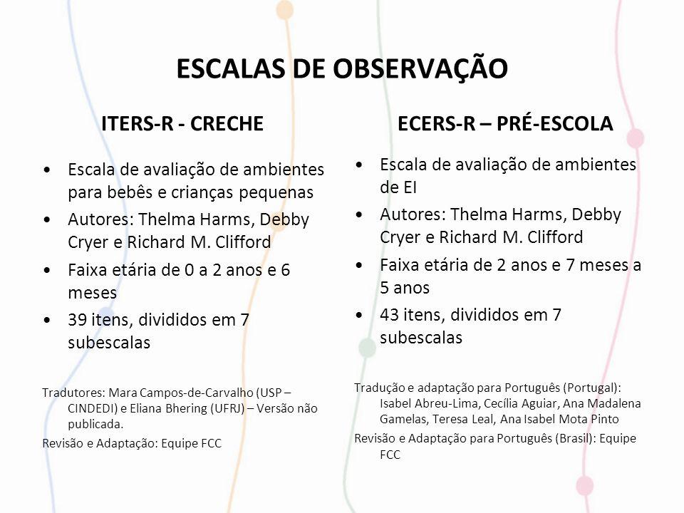ESCALAS DE OBSERVAÇÃO ITERS-R - CRECHE ECERS-R – PRÉ-ESCOLA