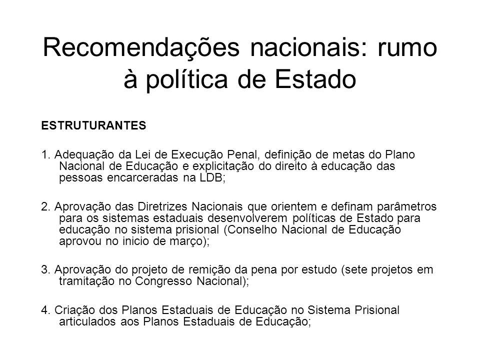 Recomendações nacionais: rumo à política de Estado