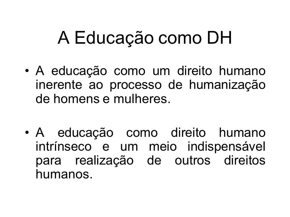 A Educação como DH A educação como um direito humano inerente ao processo de humanização de homens e mulheres.