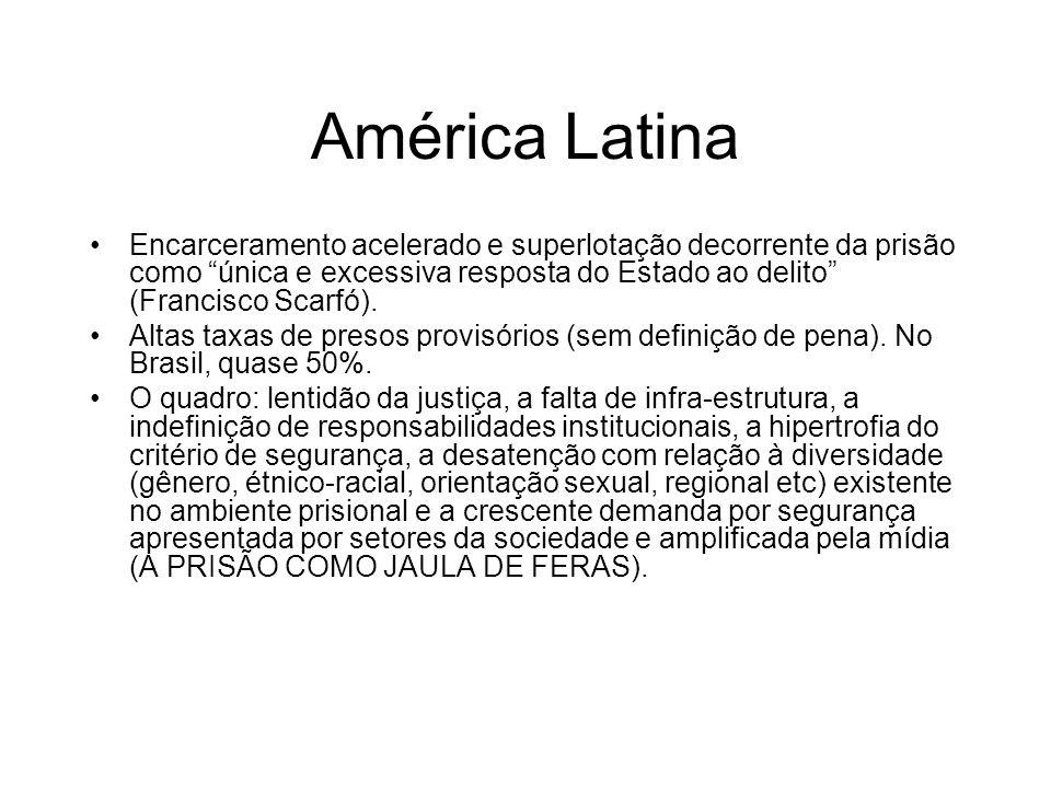 América Latina Encarceramento acelerado e superlotação decorrente da prisão como única e excessiva resposta do Estado ao delito (Francisco Scarfó).