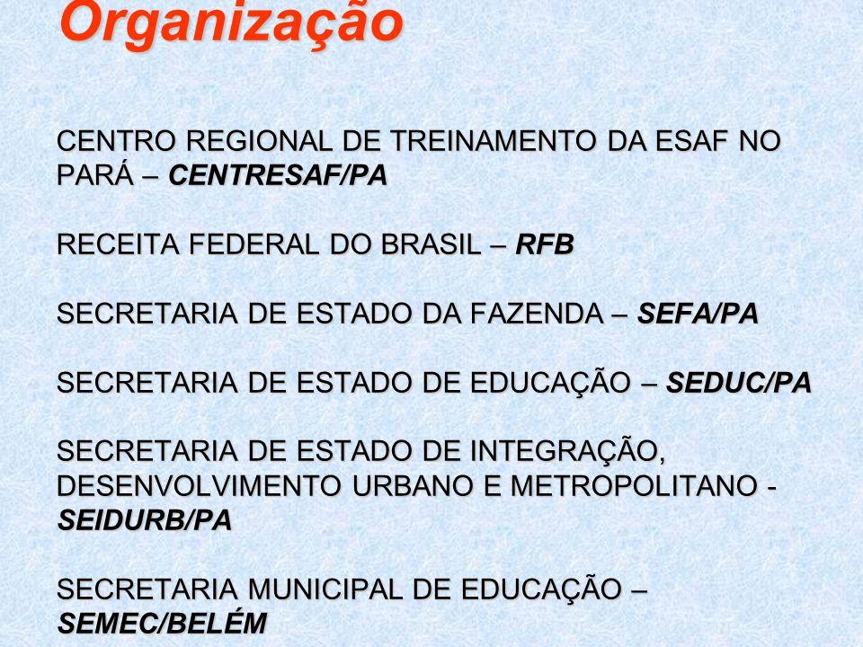 Organização CENTRO REGIONAL DE TREINAMENTO DA ESAF NO PARÁ – CENTRESAF/PA RECEITA FEDERAL DO BRASIL – RFB SECRETARIA DE ESTADO DA FAZENDA – SEFA/PA SECRETARIA DE ESTADO DE EDUCAÇÃO – SEDUC/PA SECRETARIA DE ESTADO DE INTEGRAÇÃO, DESENVOLVIMENTO URBANO E METROPOLITANO - SEIDURB/PA SECRETARIA MUNICIPAL DE EDUCAÇÃO – SEMEC/BELÉM