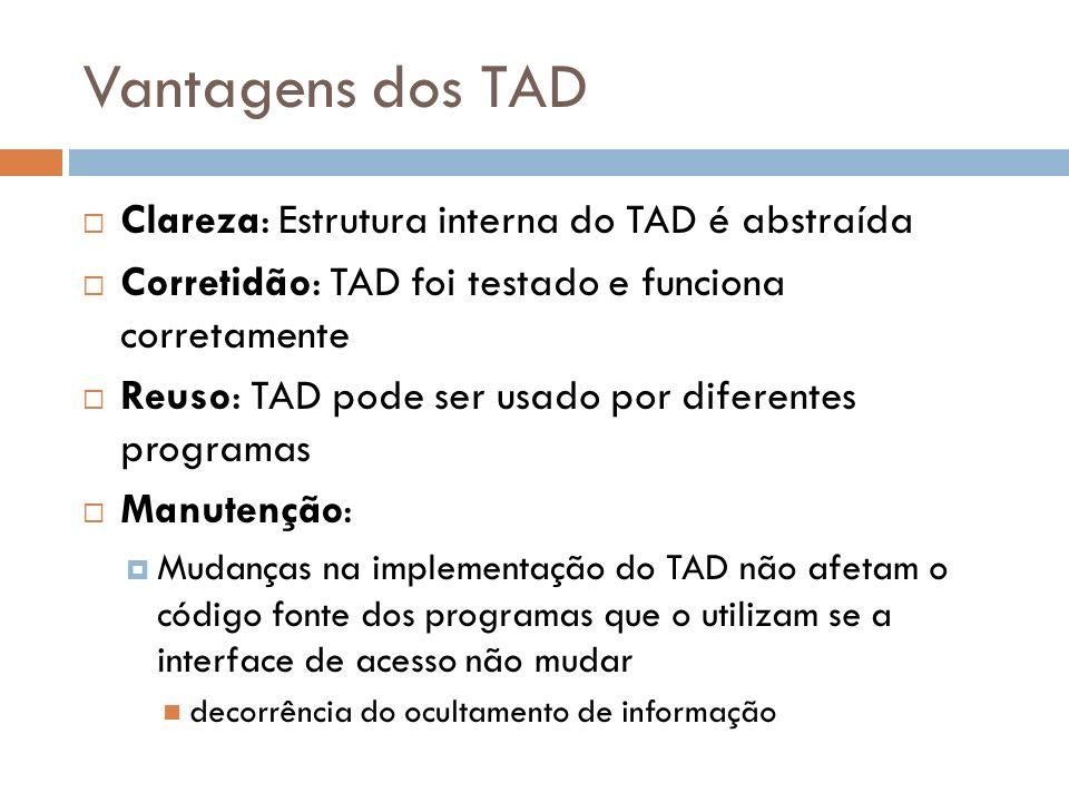 Vantagens dos TAD Clareza: Estrutura interna do TAD é abstraída