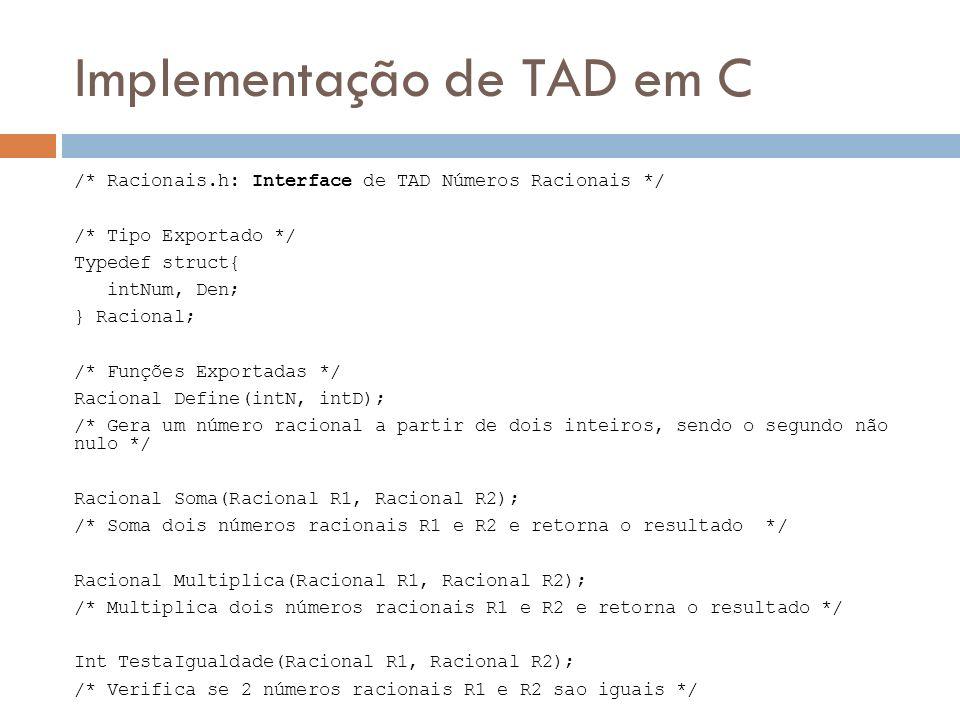 Implementação de TAD em C