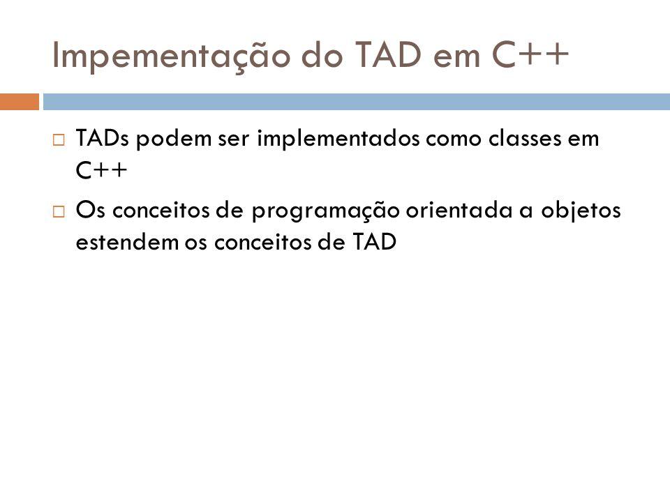 Impementação do TAD em C++