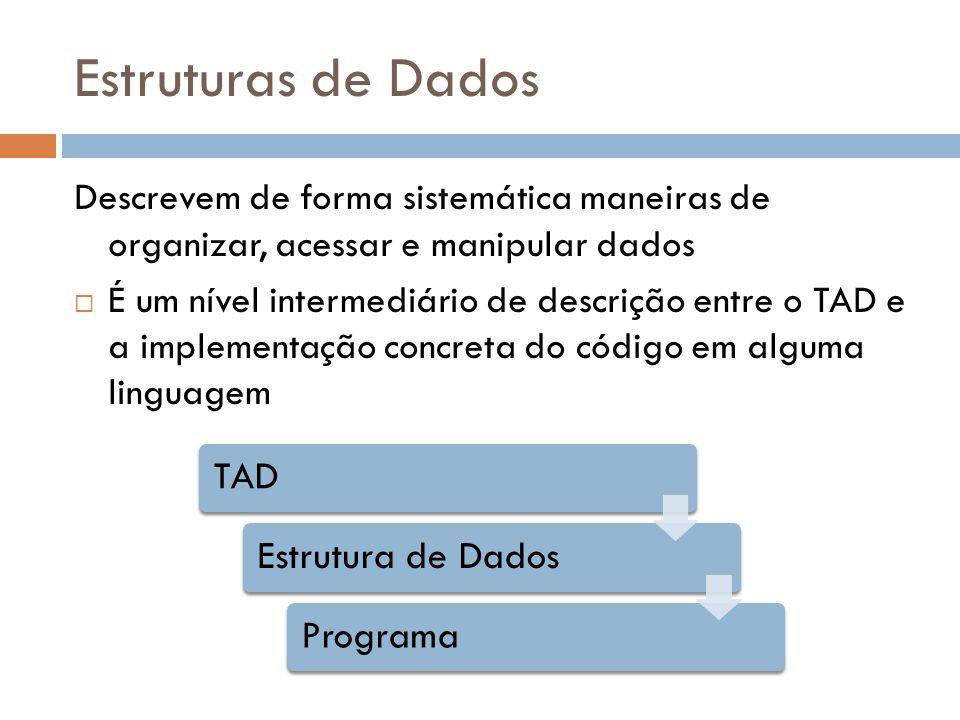 Estruturas de Dados Descrevem de forma sistemática maneiras de organizar, acessar e manipular dados.