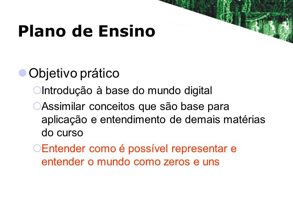Plano de Ensino Objetivo prático Introdução à base do mundo digital