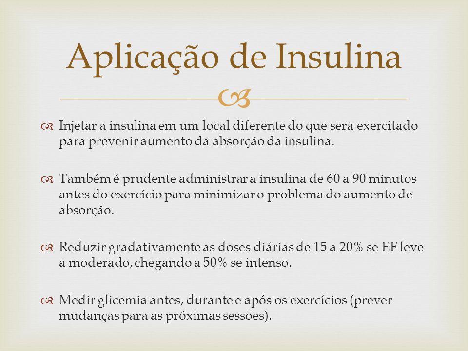 Aplicação de Insulina Injetar a insulina em um local diferente do que será exercitado para prevenir aumento da absorção da insulina.