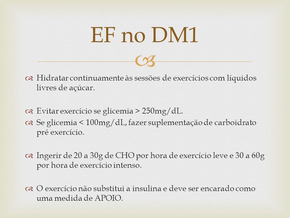 EF no DM1Hidratar continuamente às sessões de exercícios com líquidos livres de açúcar. Evitar exercício se glicemia > 250mg/dL.