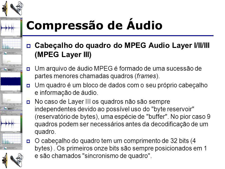 Compressão de Áudio Cabeçalho do quadro do MPEG Audio Layer I/II/III (MPEG Layer III)