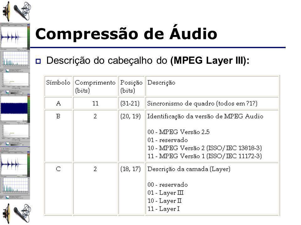 Compressão de Áudio Descrição do cabeçalho do (MPEG Layer III):