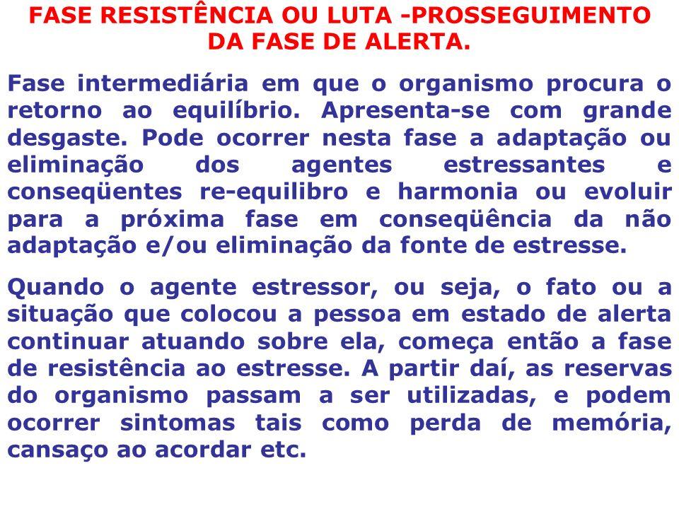 FASE RESISTÊNCIA OU LUTA -PROSSEGUIMENTO DA FASE DE ALERTA.
