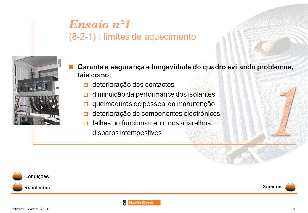 Ensaio n°1 (8-2-1) : limites de aquecimento