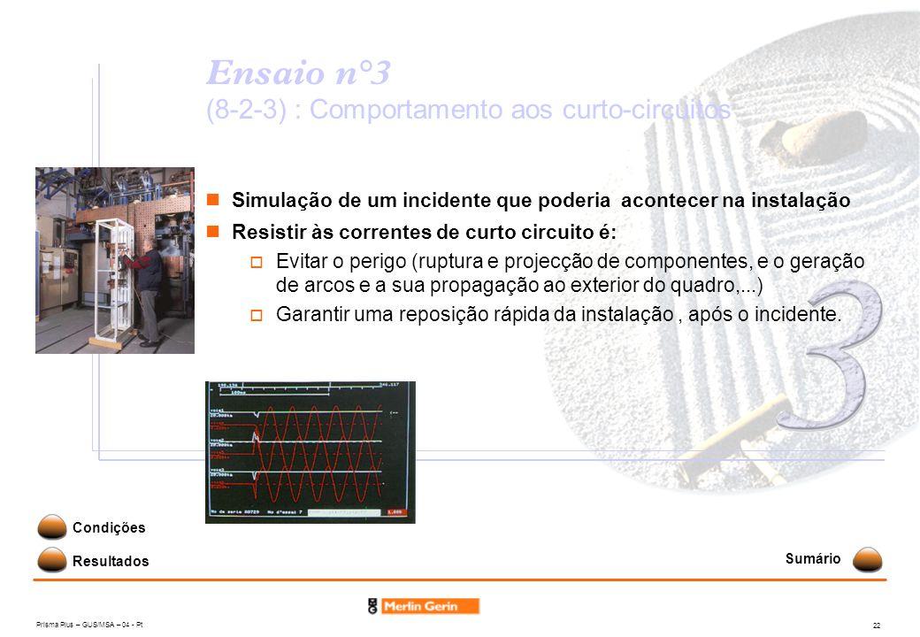 Ensaio n°3 (8-2-3) : Comportamento aos curto-circuitos