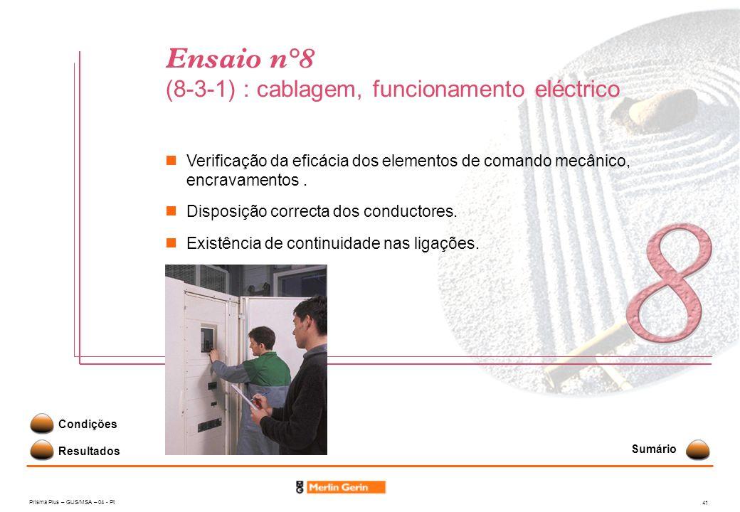 Ensaio n°8 (8-3-1) : cablagem, funcionamento eléctrico